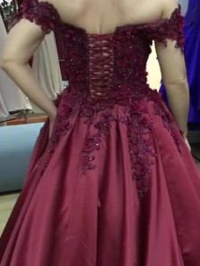 Ball Gown Off the Shoulder Satin Prom Dresses with Appliques,Quinceanera Dresses