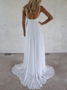 Simple A-Line Spaghetti Straps Backless White Chiffon Wedding Dresses,Beach Wedding Dresses with Lace