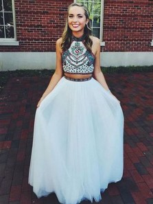 Modest A-Line Two Piece White Tulle Long Prom Dresses with Beaded,Charming Junior Prom Evening Dresses DG8032