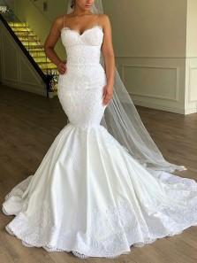 Glamorous Mermaid Sweetheart Spaghetti Straps White Satin Lace Wedding Dresses with Train