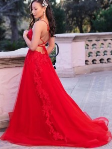Elegant A-Line Scoop Neck Cross Back Red Tulle Lace Long Prom Evening Dresses with Side Split,Formal Evening party Dresses
