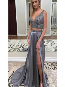 Sexy Two Pieces Silver Grey prom dress, Charming High Slit Prom Gown,Court Train Evening Dress with Beading
