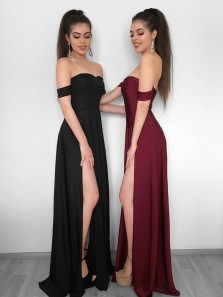 Simple A-Line Off the Shoulder Black Elastic Satin Long Prom Dresses with Side Split,Evening Party Dresses