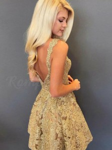 Charming A-Line V Neck Gold Lace Short Homecoming Dresses