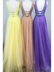Princess A-Line V Neck Open Back Blush Tulle Long Prom Evening Dresses,Formal Party Gowns
