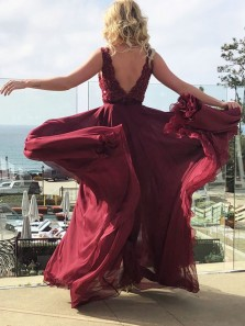 Elegant A-Line V Neck Open Back Dark Red Chiffon Long Prom Dresses with Appliques Split
