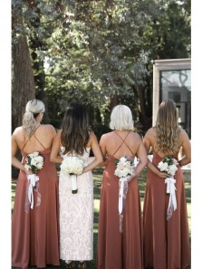 Simple A-Line Scoop Neck Cross Back Dusty Rose Long Bridesmaid Dresses with Side Split