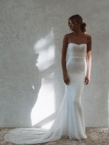 Sparkly Mermaid Sweetheart Spaghetti Straps White Sequins Wedding Dresses