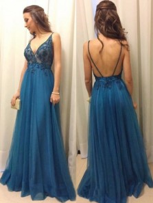 Stunning A-Line Spaghetti Straps Deep V Neck Backless Blue Tulle Long Prom Dresses with Appliques