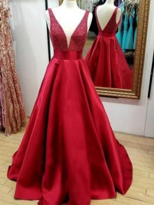 Charming A-Line V Neck Beaded Open Back Red Satin Long Prom Dresses,Evening Party Dresses