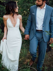 Sexy Mermaid V Neck Cross Back White Wedding Dresses with Appliques