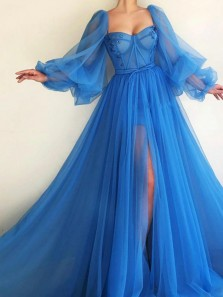 Princess A-Line Sweetheart Long SLeeve Blue Tulle Long Prom Evening Dresses with High Split