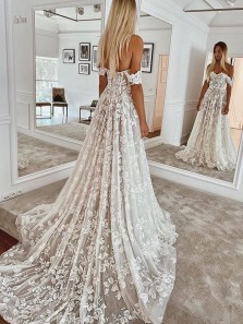 Charming A-Line Off the Shoulder Lace Boho Wedding Dresses with Train