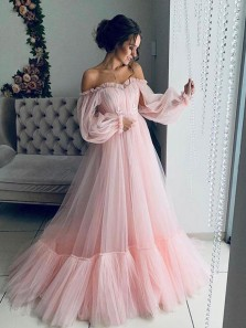 Princess A-Line Off the Shoulder Long Sleeve Tulle Prom Evening Dresses,Sweet 16 Party Dresses,Quinceanera Dresses 2021