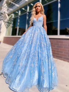 Princess A-Line V Neck Cross Back Sky Blue Lace Prom Evening Dresses,Formal Evening Dresses 2021