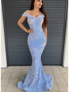 Sparkly Mermaid Off the Shoulder Sky Blue Sequins Long Prom Evening Dresses