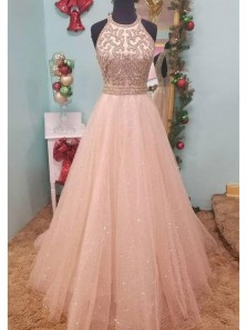 Stunning A-Line Halter Open Back Peach Tulle Long Prom Dresses with Beading,Evening Party Dresses