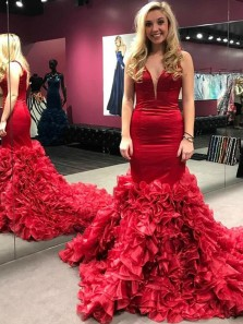 Gorgeous Mermaid V Neck Open Back Red Satin Tiered Long Prom Dresses with Train,Sweet 16 Party Dresses Pageant Dresses
