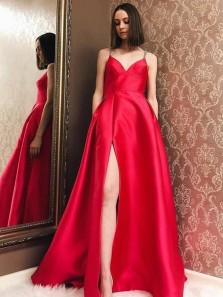 Elegant A-Line V Neck Spaghetti Straps Open Back Red Satin Long Prom Dresses with Leg Slit,Evening Party Dresses with Pockets