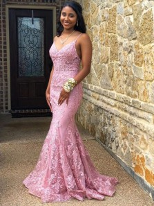 Stylish Mermaid V Neck Spaghetti Straps Open Back Pink Lace Long Prom Dresses,Formal Evening Party Dresses