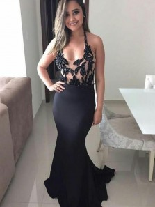 Sexy Mermaid Low Cut Halter Open Back Black Satin Long Prom Dresses with Appliques,Evening Party Dresses