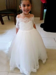 Cute Princess Off the Shoulder Short Sleeve White Tulle Lace Flower Girl Dresses,Girls Dresses Birthday Party Dresses