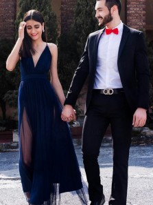 Simple A-Line V Neck Spaghetti Straps Open Back Navy Blue Tulle Long Prom Dresses with Split Under 100,Elegant Evening Party Dresses