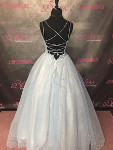Gorgeous A-Line Scoop Neck Criss Cross Back Light Blue Sparkly Tulle Long Prom Dresses with Double Straps,Formal Evening Party Dresses,Girls Junior Graduation Gown