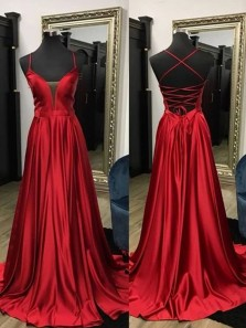 Simple A-Line V Neck Cross Back Dark Red Satin Long Prom Dresses with Pockets,Evening Party Dresses