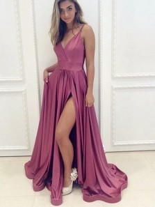 Simple A-Line V Neck Open Back Mulberry Satin Long Prom Dresses with Leg Split,Cheap Evening Party Dresses Under 100