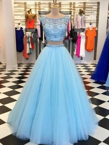 Gorgeous 2 Piece Round Neck Blue Tulle Long Prom Dresses with Beading,Formal Evening Party Dresses