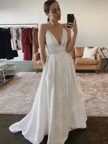 Simple A-Line Deep V Neck Spaghetti Straps Open Back White Satin Wedding Dresses