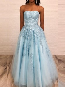 Gorgeous A-Line Strapless Open Back Sky Blue Long Prom Dresses with Appliques,Evening Party Dresses