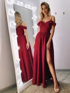 Modest A-Line Off the Shoulder Straps Dark Red Satin Long Prom Dresses with High Split,Evening Dresses