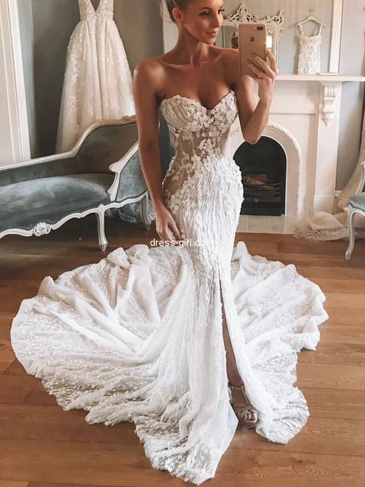 Unique Mermaid Sweetheart Open Back White Lace Wedding Dresses Dress Girl Com