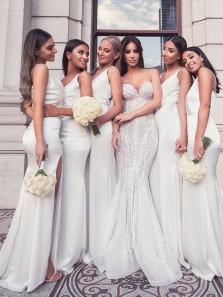 2019 New White Bridesmaid Dresses,V Neck Elastic Satin Mermaid Long Bridesmaid Dresses