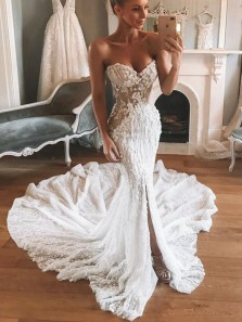 Unique Mermaid Sweetheart Open Back White Lace Wedding Dresses
