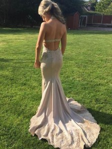 Gorgeous Mermaid Halter Backless Blush Satin Long Prom Drseses with Appliques,Formal Evening Party Dresses
