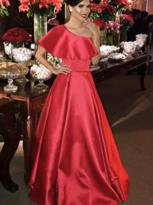 Gorgeous A-Line One Shoulder Open Back Red Satin Long Prom Dresses with Ruffle,Evening Party Dresses