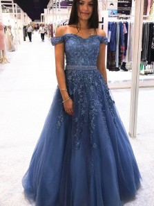 Gorgeous A-Line Off the Shoulder Open Back Navy Blue Tulle Long Prom Dresses with Appliques,Formal Evening Party Dresses