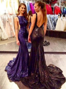 Unique Mermaid Boat Neck Backless Grape Sequins Satin Long Prom Dresses with Train,Evening Party Dresses