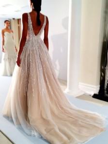 Luxurious A-Line Deep V Neck Open Back Wedding Dresses,2019 Beaded Bridal Dresses