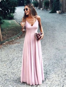 Cheap A-Line V Neck Spaghetti Straps Open Back Pink Chiffon Long Prom Dresses,Summer Beach Maxi Dresses,Evening Party Dresses