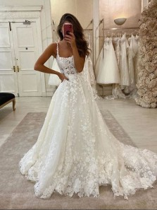Luxurious Ball Gown Square Neck Open Back White Lace Wedding Dresses with Pockets , Stylish Wedding Gown