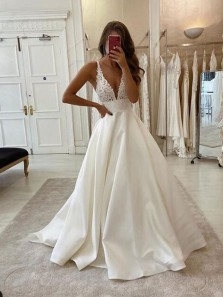 Charming A-Line Deep V Neck Open Back Ivory Satin Long Wedding Dresses with Lace,Bridal Gown