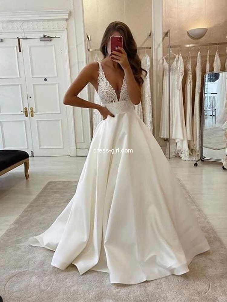 Charming A Line Deep V Neck Open Back Ivory Satin Long Wedding Dresses With Lace Bridal Gown Dress Girl Com