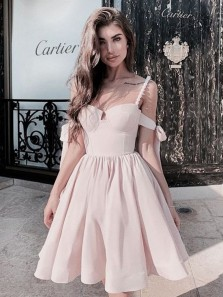 Unique A-Line Sweetheart Spaghetti Straps Open Back Light Pink Satin Short Prom Dresses,Cute Homecoming Dresses