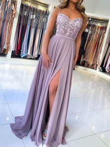 Gorgeous A-Line Sweetheart Open Back Spaghetti Straps Grey Purple Chiffon Long Prom Dresses with Appliques,Formal Evening Party Dresses
