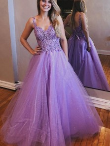 Charming A-Line V Neck Lavender Tulle Long Prom Dresses with Lace,Formal Evening Party Dresses
