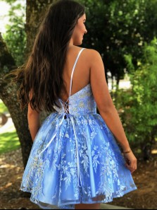 Chic A-Line Sweetheart Lace-up Back Blue Lace Short Prom Dresses,Evening Party Dresses,Short Homecoming Dresses